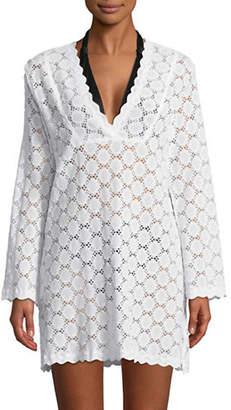 J Valdi Portofino Crochet Lace Tunic