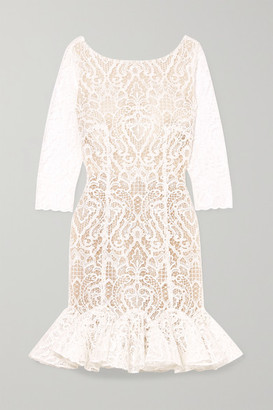 Rime Arodaky Gillian Ruffled Lace Mini Dress - White