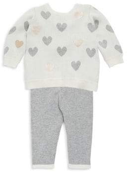 Baby Girl's Two-Piece Heart Sweater & Textured Leggings Set