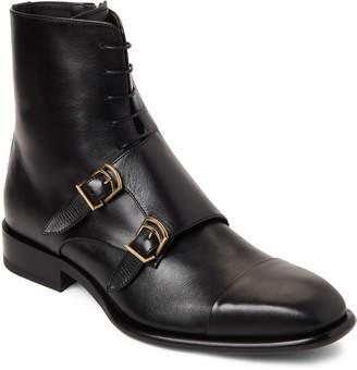 Jil Sander Black Leather Buckled Lace-Up Boots
