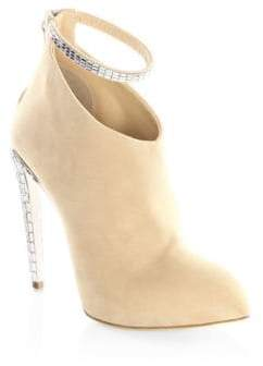 Giuseppe Zanotti Crystal Ankle Strap Suede Booties