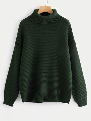 Shein Turtleneck Drop Shoulder Rib Knit Sweater