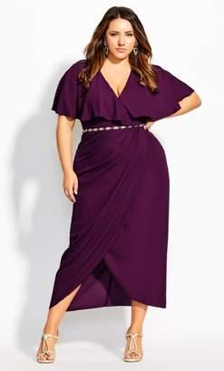 City Chic Enchantment Maxi Dress - mulberry