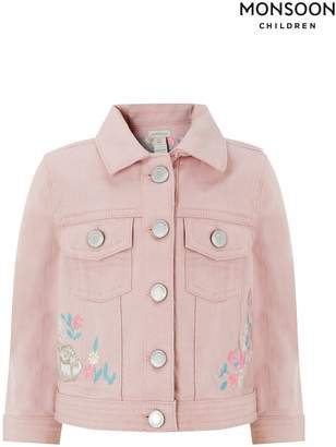 ef428c65a8601 Monsoon Girls Pink Baby Bunny Denim Jacket - Pink