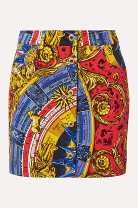Moschino Printed Denim Mini Skirt - Red