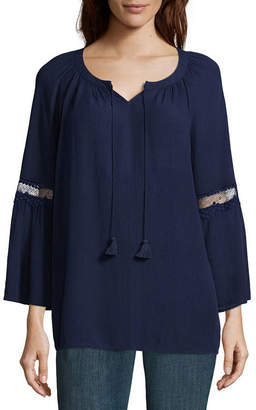 ST. JOHN'S BAY 3/4 Sleeve Lace Trim Peasant Blouse - Tall