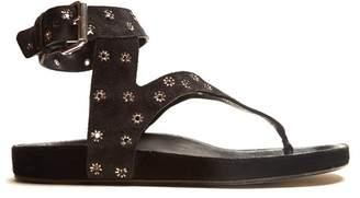 Isabel Marant Elwina Embellished Suede Sandals - Womens - Black