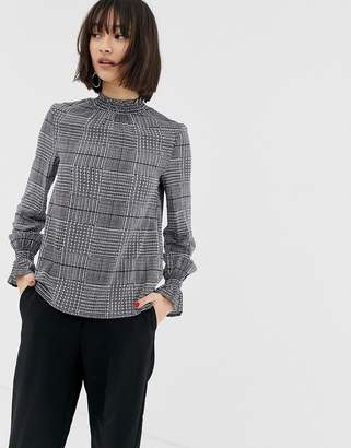 Warehouse gathered neck blouse in check