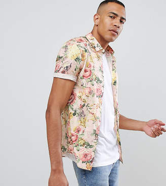 Asos Design DESIGN Tall skinny floral printed shirt in off white