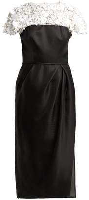 Carolina Herrera Embroidered Silk Organza Midi Dress - Womens - Black White