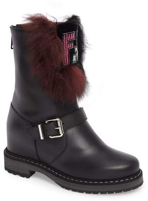 Fendi Caroline Genuine Alpaca Fur & Genuine Shearling Engineer Boot