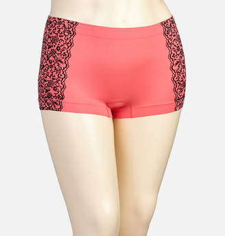 Avenue Hot Coral Lace Seamless Boy Short Panty
