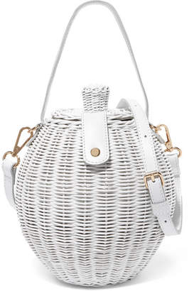 Ulla Johnson Tautou Mini Leather-trimmed Wicker Shoulder Bag - White