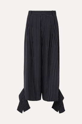 J.W.Anderson Convertible Pinstriped Wool-blend Pants - Navy