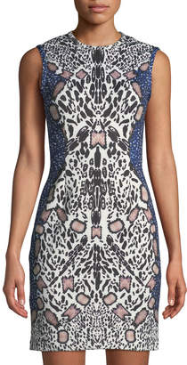 Yigal Azrouel Sleeveless Abstract Cheetah Watercolor Sheath Dress