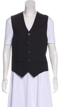 J. Lindeberg Striped Button-Up Vest Grey Striped Button-Up Vest