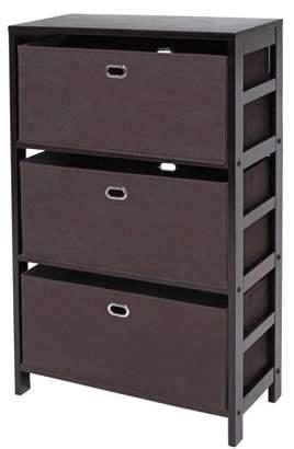 Winsome Wood Torino 4-PC Storage Shelf Set w/ Fabric Baskets
