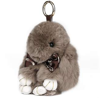 SCIONE Cute Easter Bunny Rabbit Fur Keychain for Women Bag Charms or Car Pendant