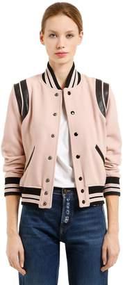 Saint Laurent Leather Details Wool Knit Teddy Jacket