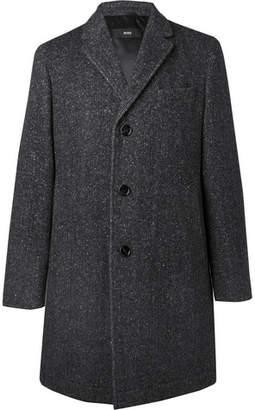 HUGO BOSS Shawn Slim-fit Herringbone Virgin Wool-blend Coat