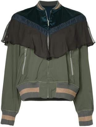 Kolor contrast panel bomber jacket
