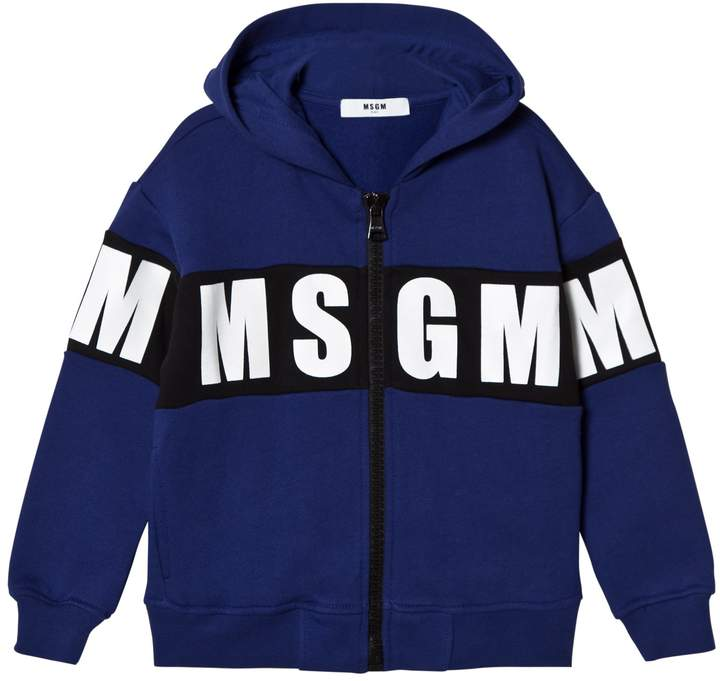 Msgm Roayl Blue Logo Hoody