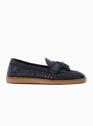 Topman Mens Navy Leather Weave Wedge Loafers