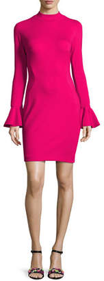 Jovani Long-Sleeve Ponte Cocktail Dress, Hot Pink $395 thestylecure.com