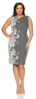 Adrianna Papell Women's Size Plus Scroll Border Knit Sheath