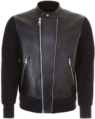 Neil Barrett Leather And Jersey Bomber Jacket