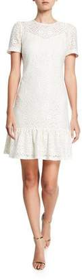 MICHAEL Michael Kors Lace Short-Sleeve Ruffle-Hem Tee Dress