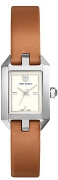 Tory Burch Tory Burch Dalloway Silvertone Stainless-Steel and Leather Strap Watch