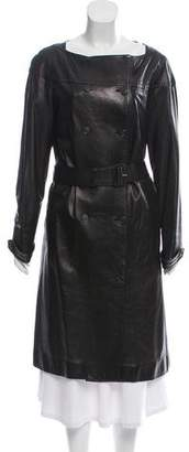 Prada Leather Knee-Length Coat