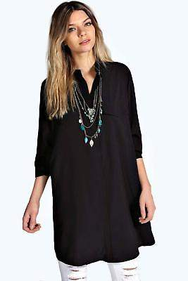 boohoo NEW Womens Longline Grandad Collar Boyfriend Shirt in Polyester