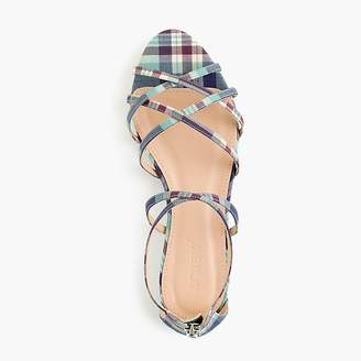 J.Crew Cary mini-wedge sandals in plaid