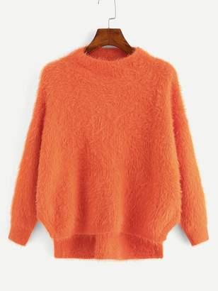 Shein Drop Shoulder High Low Fluffy Sweater