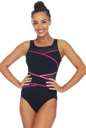 Poolproof Mesh Taped High Neck One Piece
