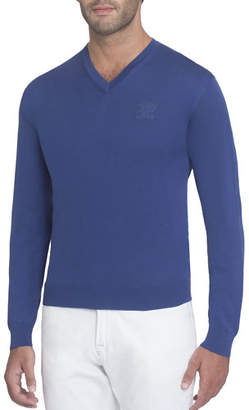 Stefano Ricci Silk V-Neck Sweater with Tonal Eagle