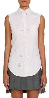 Thom Browne Women's Embroidered Cotton Sleeveless Button-Down Shirt - Light Pink - Size 38 (2)