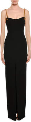 Tom Ford Chain-Strap Bustier Column Gown