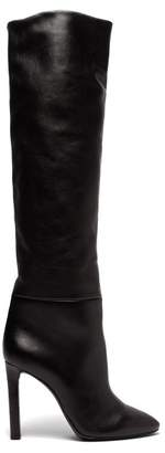 Saint Laurent Kate Knee High Leather Boots - Womens - Black