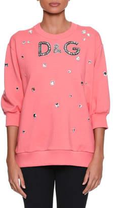 Dolce & Gabbana Three-Quarter Sleeve Crystal-Embellished Oversized Sweatshirt