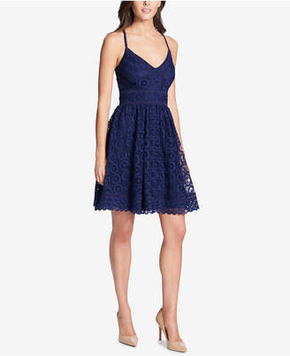 GUESS Medallion Lace Fit & Flare Dress