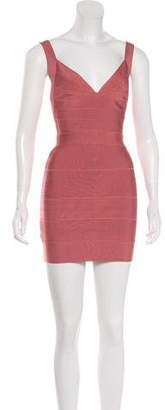 Herve Leger V-Neck Bandage Dress
