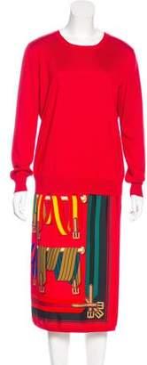 Hermes Silk-Paneled Le Sangles Dress