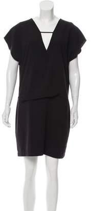 Halston Short Sleeve V-Neck Dress