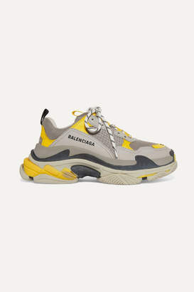 Balenciaga Triple S Logo-embroidered Leather, Nubuck And Mesh Sneakers - Gray