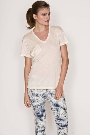 K Allyn Short Sleeve Pocket V-Neck Tee in Cream