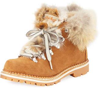 Margherita La Montelliana Suede Fur-Trimmed Boots
