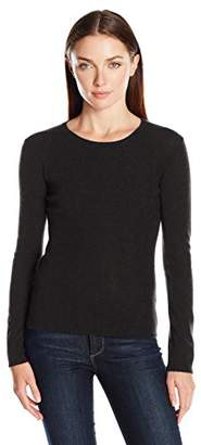 Lark & Ro Women's 100% Cashmere Slim-Fit Basic Crew-Neck Sweater